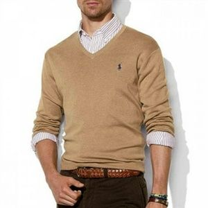 Tan v neck sweater